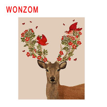 WONZOM Deer Painting By Numbers Abstract Animal Oil Flower Bird Cuadros Decoracion Acrylic Paint On Canvas Modern Art