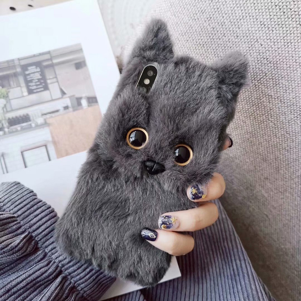 KIPX1047G_1_JONSNOW Hairy Phone Case For iPhone XS XR 3D Cat Warm Winter Fur Plush Cases for iPhone 6 6S 7 8 Plus XS Max Back Cover
