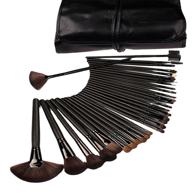 цены 32Pcs Professional Cosmetic Makeup Brush Set Kit with Synthetic Leather Case X713 5Up
