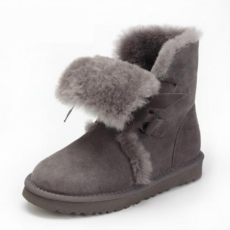 UBZ  2017 Women Sheep Fur Snow Boots Female Warm Winter Flat Bandage Calf Height Boots Large Size Female Shoes Free shipping