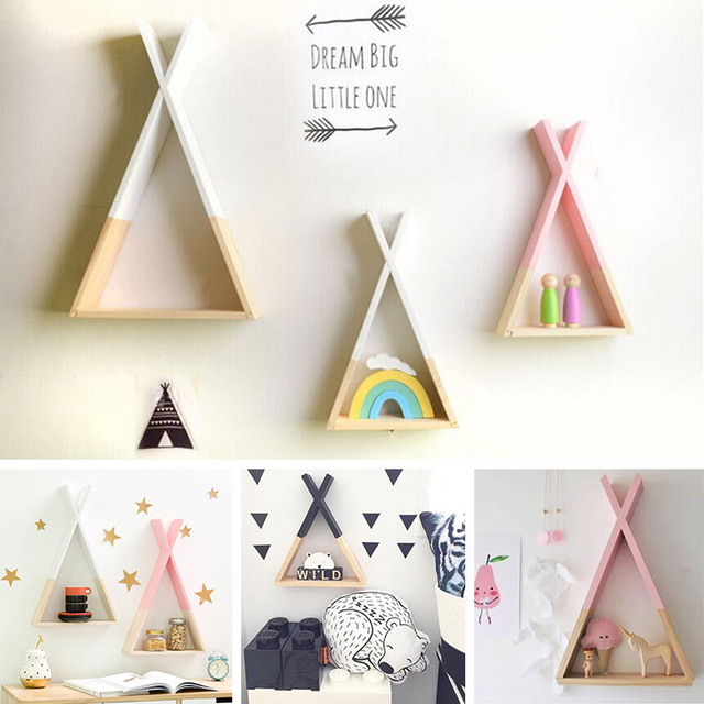 Nordic Style Kids Baby Wooden Trigon Storage Book Shelf Triangle Shelf Lovely Colors Shelf Wall Hanging Home Room DIY Decor Gift