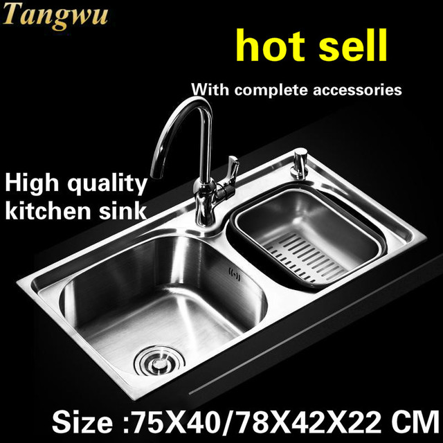 Remarkable Us 314 0 50 Off Tangwu Food Grade 304 Stainless Steel Kitchen Sink Double Groove Deluxe Edition 75X40 78X42X22 Cm In Kitchen Sinks From Home Home Interior And Landscaping Palasignezvosmurscom