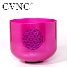 CVNC Flower of Life 7 Note B  Crown chakra Purple Clear crystal singing bowl with life