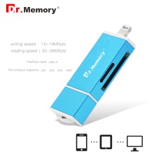 Dr.Memory 3 in 1 Lightning/Micro USB/USB 2.0 Memory Card Reader for iphone 6s 7 plus metal For Android OTG Micro SD Card Reader