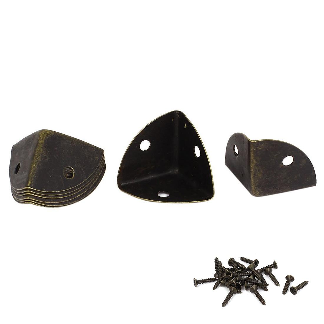 25 mm Bronze Tone Metal Box Corner Protector Screen Protectors, 8 pcs