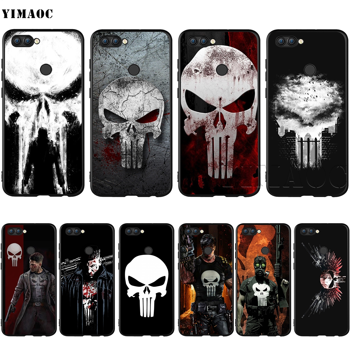 YIMAOC <font><b>Marvel</b></font> The Punisher Silicone Case for <font><b>Huawei</b></font> Mate 10 P8 P9 <font><b>P10</b></font> P20 <font><b>Lite</b></font> Pro P Y7 Y9 Smart Mini 2017 2018 image