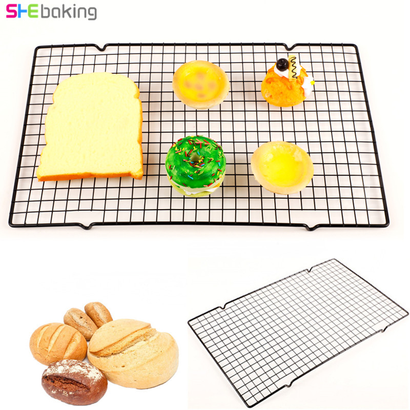 Shebaking Stainless Steel Nonstick Cooling Rack Cooling Grid Baking Tray Dessert Biscuit Cookie Pie Bread Cake Baking Rack