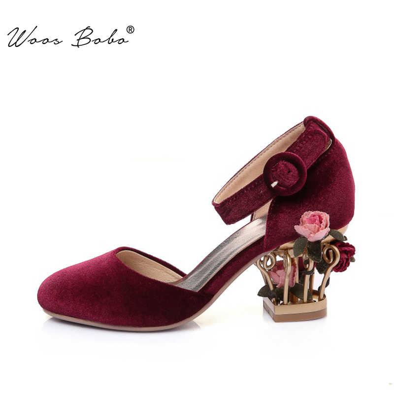 Burgund samt frauen high heels knöchel schnalle frauen pumpen vogel käfig blume ferse frauen sandalen Aus Echtem Leder frauen schuhe