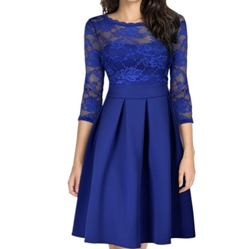 Spring And Autumn Lace Patchwork Dress Work Casual Slim Vestido De Festa Longo Sexy Hollow Out Vintage Dress Ropa Mujer