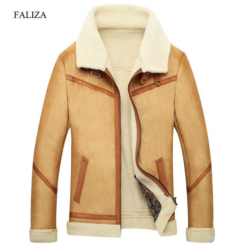 FALIZA Winter Oberbekleidung Herren Faux Pelz Männlichen Lederjacke Fleece Gefüttert Samt Dicke Dünne Thermische Große Fourrure SM-JK-F