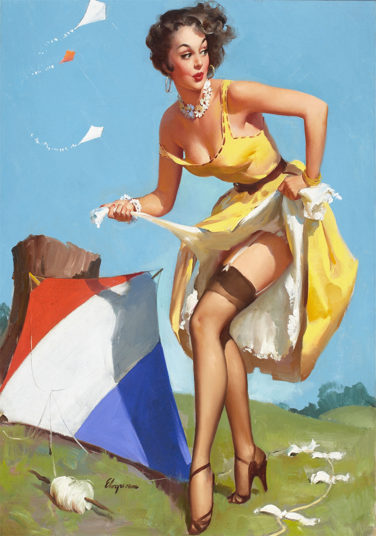 kissing pin up girl art