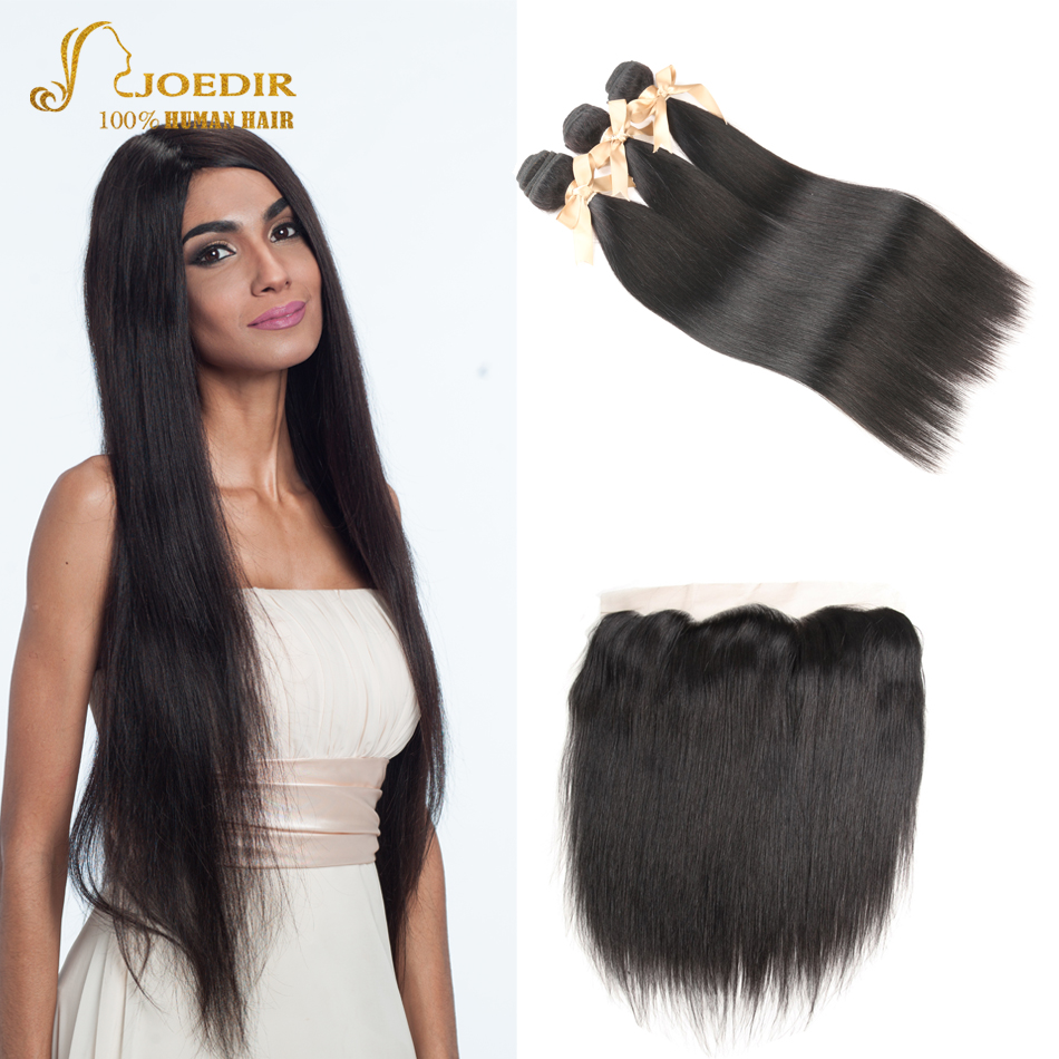 Joedir Hair Burmese Human Hair Bundles with Closure Straight Hair Bundles with Frontal 3 ...