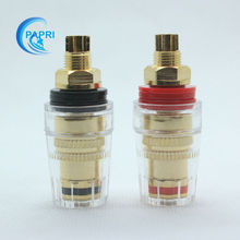 4PCS Pure Brass Gilded 5mm cable 5 way binding post short thread terminals For speaker CD audio amplifier DAC