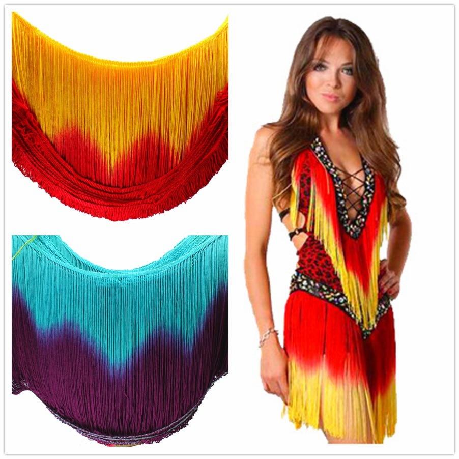 Latin Fringe Tassel Dip Dye Ombre Chainette Fringes 3 Yds Dance Macrame Tutu Trimming Rayon Sewing Lace Trimming Samba 25-30CM
