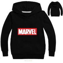 Одежда для маленьких детей; повседневная детская футболка; толстовки с героями комиксов Marvel; футболка с капюшоном и принтом; повседневная черная толстовка с капюшоном