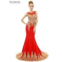 אדום שחור לבן בת ים שמלות נשף אורך קיר אפליקציות זהב יוקרה אופנה השמלות רשמיות המפלגה שמלת שמלה לנשף