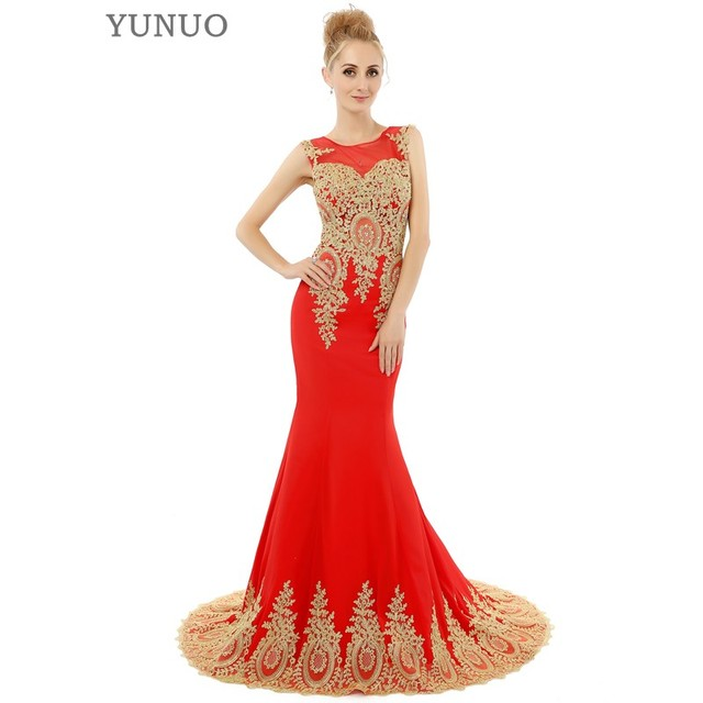 Black Red White Mermaid Prom Dresses Luxury Gold Appliques Floor