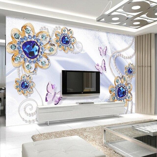 Customized 3d Photo Wallpaper 3d Wall Murals Wallpaper Blue Crystal  Butterfly Jewellery Background Wall Decor