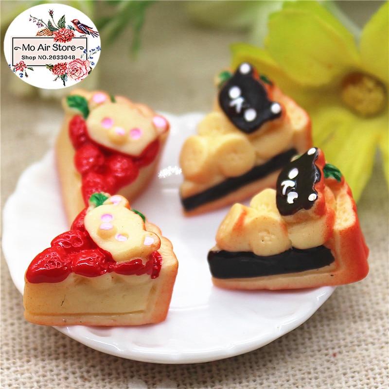 Bear Strawberry Cake 10PCS 18x13mm Resin Flatback Cabochon Miniature Food Art Supply Decoration Charm Craft