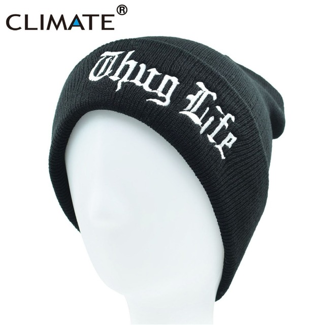 72deef79527 CLIMATE Men Women Winter Warm Beanie Hat THUG LIFE Black Knit Skullies  Beanie Casual Cool Black