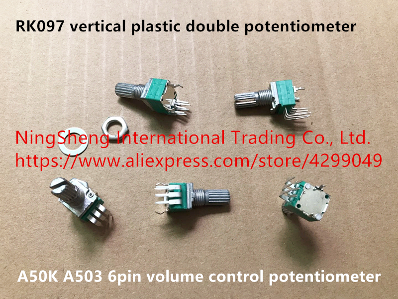 Original New 100% Import RK097 Vertical Plastic Double Potentiometer 6pin Volume Control Potentiometer A50K A503 (SWITCH)