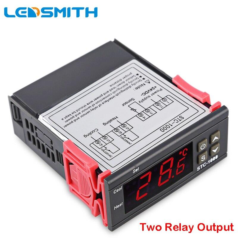 LEDSMITH LED Digital controlador de temperatura STC-1000 12 V 24 V 220 V termorregulador termostato con calentador y enfriador