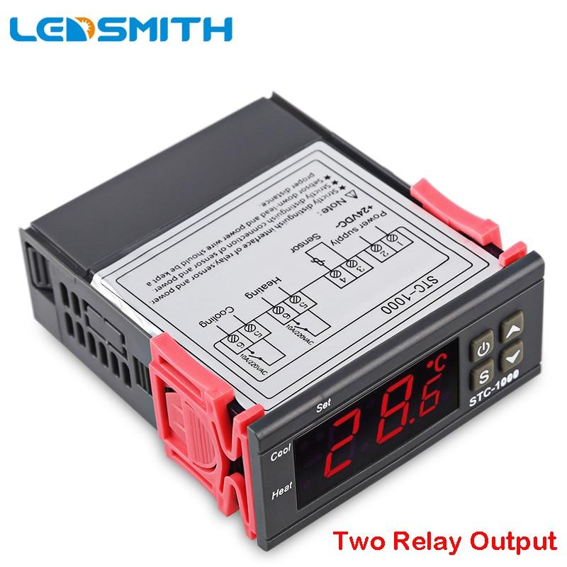 LEDSMITH LED controlador de temperatura Digital STC-1000 12 V 24 V 220 V termostato termorregulador con calentador y enfriador