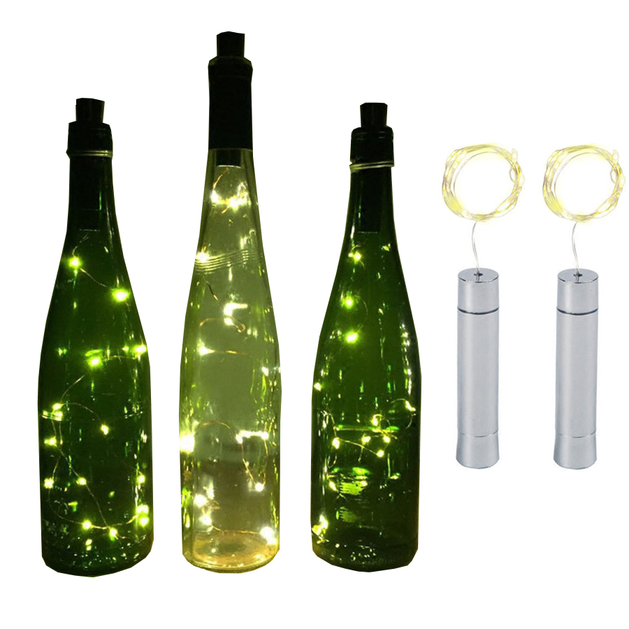 BEIAIDI 1PC 2M 20LED Wine Bottle Cork Stopper String Light AA Battery Powered Copper Fairy String Light Party Wedding Garland