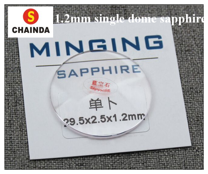Hot! Free Shipping 1pc 1.2mm Single Dome Convex Real Sapphire Crystal From Size 30mm To 42mm