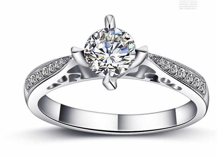 Женское свадебное кольцо из стерлингового серебра 925 пробы 1 карат изысканное для
