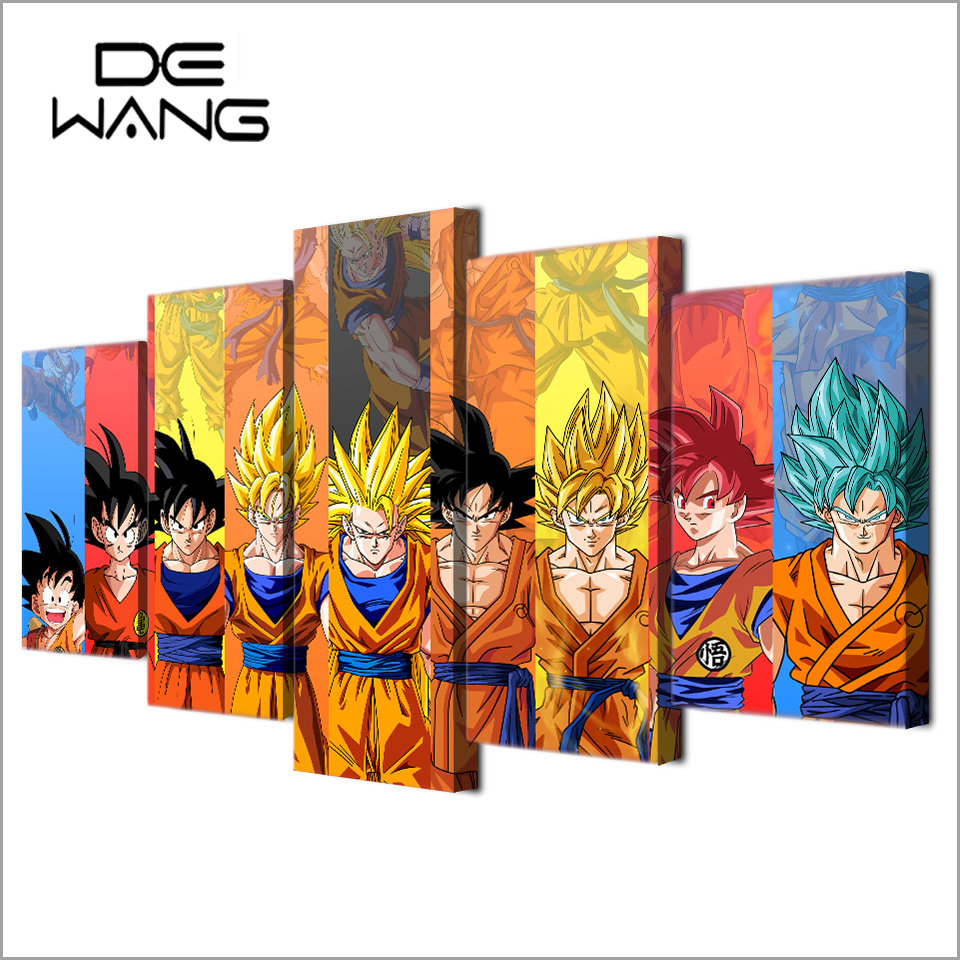 5 Piece Canvas Art Hd Print Painting Dragon Ball Z Picture Kid Room Wall Decoration Frames Home Decor Canvas Print Painting Wall