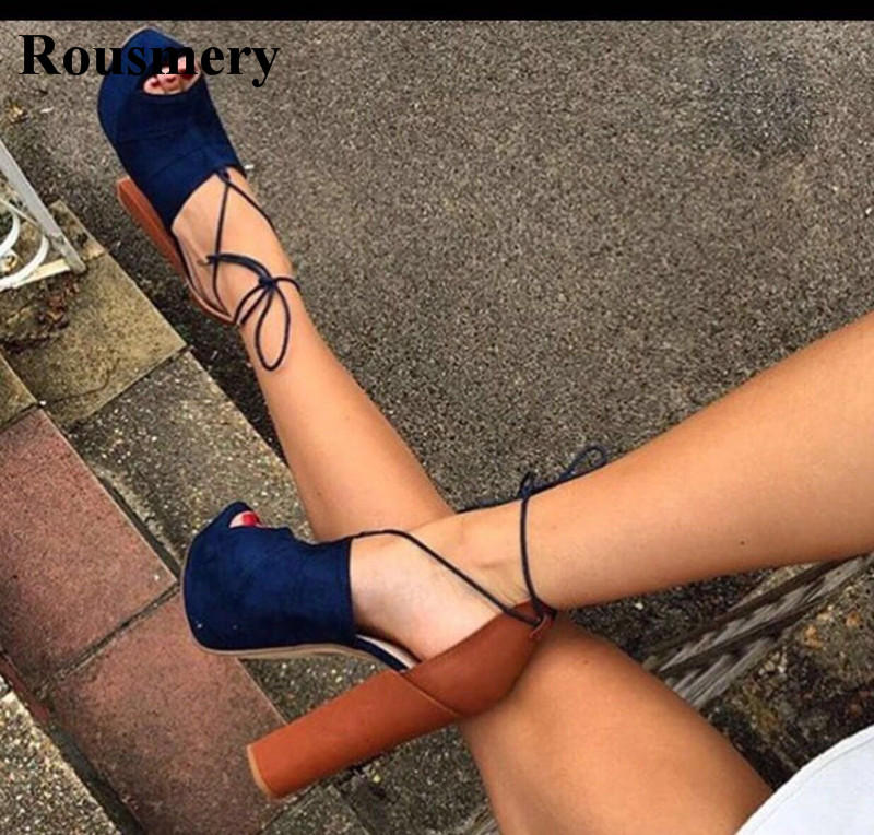 Women Fashion Open Toe Lace-up Blue Suede Leather Thick Heel Sandals Ankle Strap Cross Platform High Heel Sandals Dress Shoes все цены