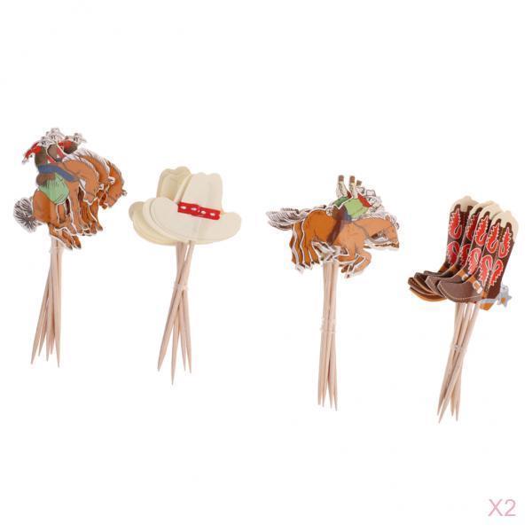 48 шт. комплект Ковбой Стиль торт, топперы, капкейки выбирает вставка для торта декоративные аксессуары