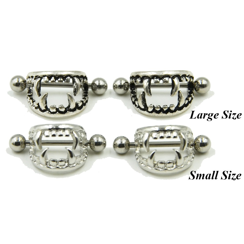 Pair of 14G Stainless Steel Barbell Love Bite Fangs Vampire Nipple - Fashion Jewelry - Photo 5