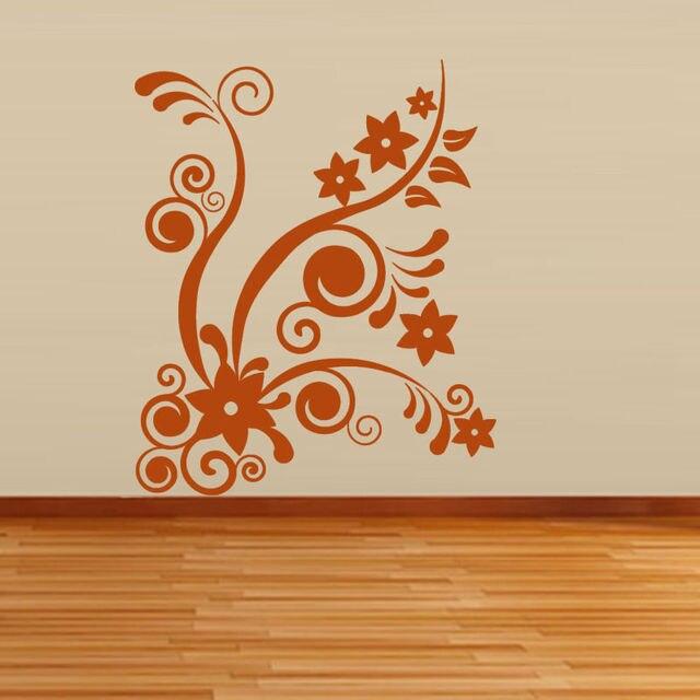 diy orange swirl vines star shape flower wall sticker art vinyl
