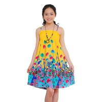 Summer Flower Girls Dress Baby Lovely Clothes Chinese Style Vestidos Bohemian Dress Beach Cotton Dresses (No Decoration)3-12Y