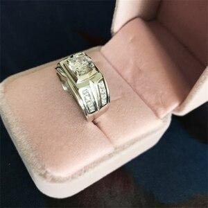 Image 3 - 送信シルバー証明書! Yanleyu big boss ジュエリーリング 925 スターリングシルバー 7 ミリメートル aaa ジルコン結婚式の婚約指輪男性 PR259