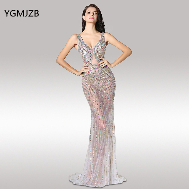 8fdb85a4d353 See Through Evening Dresses Long 2018 Mermaid V Neck Floor Length Heavy  Beaded Crystal New Arrival Prom Dress Prom Evening Gown