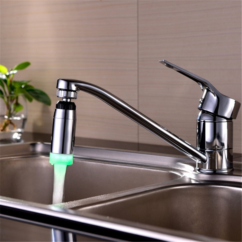 360 degree Rotation LED Water Faucet Spout Stream Light 7 Colors Changing Glow Shower Stream Tap Aerator Bathroom