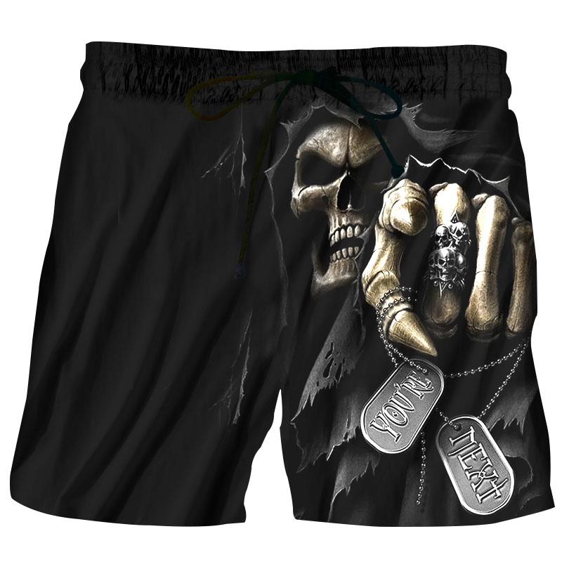 2018 Summer Men Board Shorts 3D Print Skull Punisher Fashion Men's Bermuda Beach Shorts Black Trousers Plus Size 6XL Quick Dry