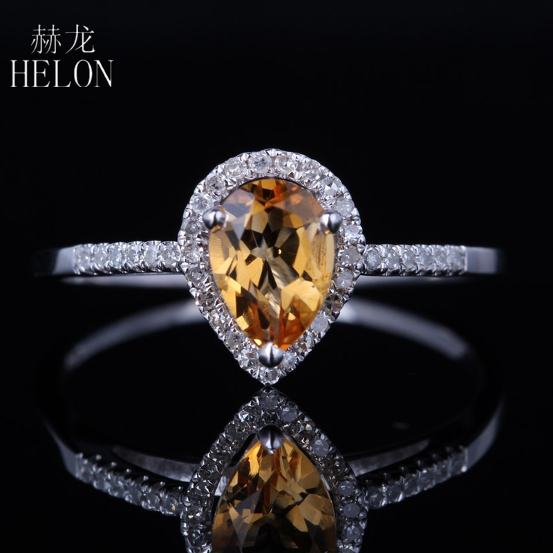 HELON Solid 10k White Gold Certified Pear Cut Citrine Engagement Diamonds Ring For Women Wedding Party Exquisite Trendy JewelryHELON Solid 10k White Gold Certified Pear Cut Citrine Engagement Diamonds Ring For Women Wedding Party Exquisite Trendy Jewelry