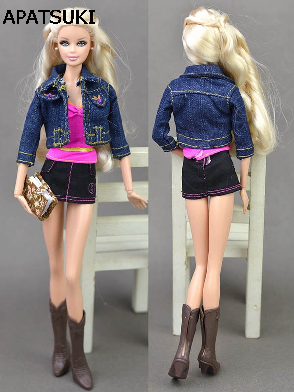 Doll Accessories Spring Wear Suit Set Fashion Clothes For Barbie Doll House Jeans Coat Short Skirt Boots Bags Shoes 30 new styles festival gifts top trousers lifestyle suit casual clothes trousers for barbie doll 1 6 bbi00636