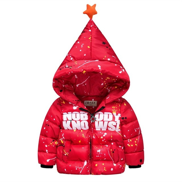 Boys Winter Coats 2016 New Paint Pattern Star Hooded Children Baby Winter Jacket Down Coat Kids Clothes H3933