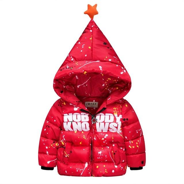Chicos abrigos de invierno 2016 nueva pintura patrón star con capucha niños bebé chaqueta de invierno down coat ropa para niños h3933