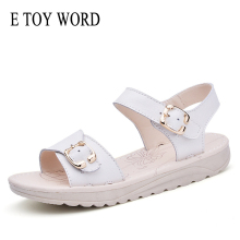 E TOY WORD womens sandals Summer flat ankle strap shoes ladies white gladiator