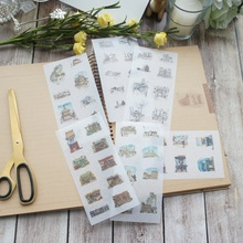 6 sheets Hand painted architecture washi Paper sticker as Scrapbooking DIY gift packing Label Decoration Tag party