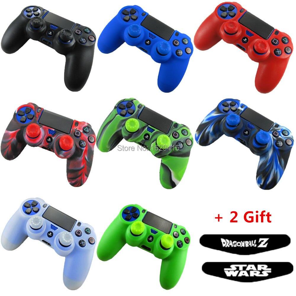 4 in <font><b>1</b></font> For Sony Playstation 4 PS4 Pro Slim Controller Silicone Gel <font><b>Rubber</b></font> Skin Case + Thumb Sticks Grips Cover + <font><b>2</b></font> <font><b>x</b></font> LED Sticker