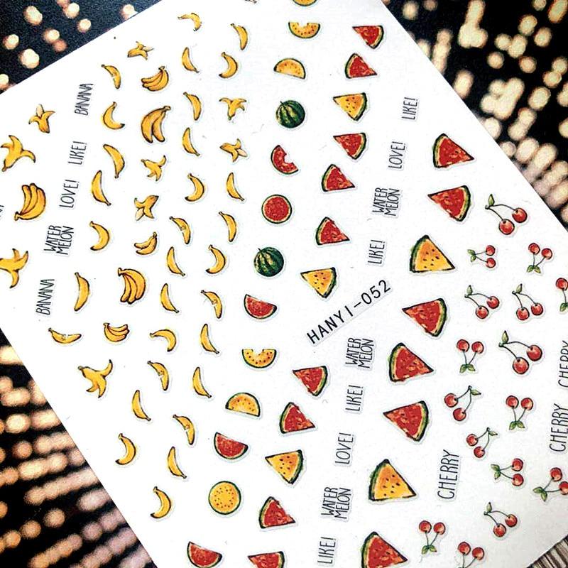 Nieuwste 3d nail art sticker SOLONAIL hanyi-52 tropische fruit zwart - Nagel kunst