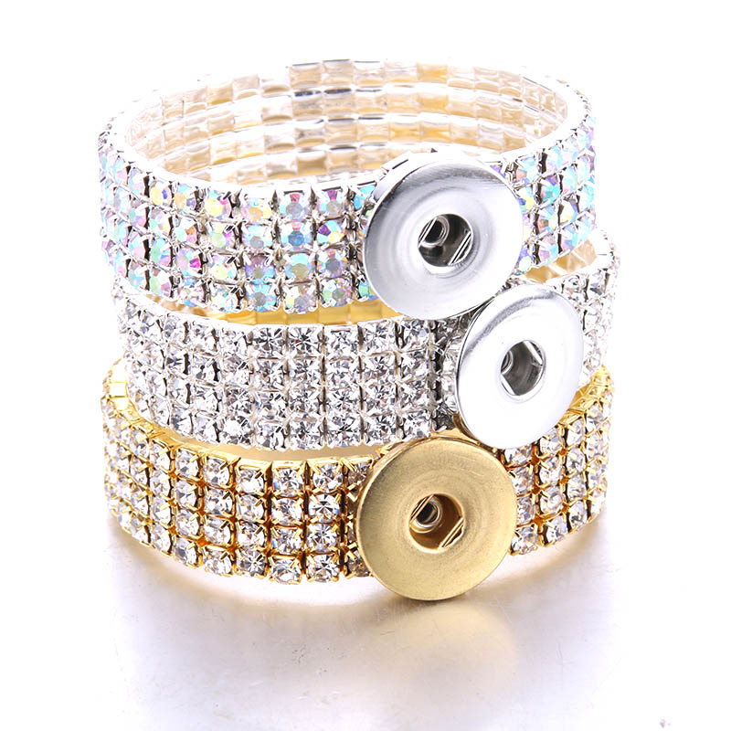 Boom Life New Rhinestone Silver Snap Bracelet For Women Fit DIY 18mm Snap Jewelry Elastic Snap Buttons Bracelet Jewelry 2385