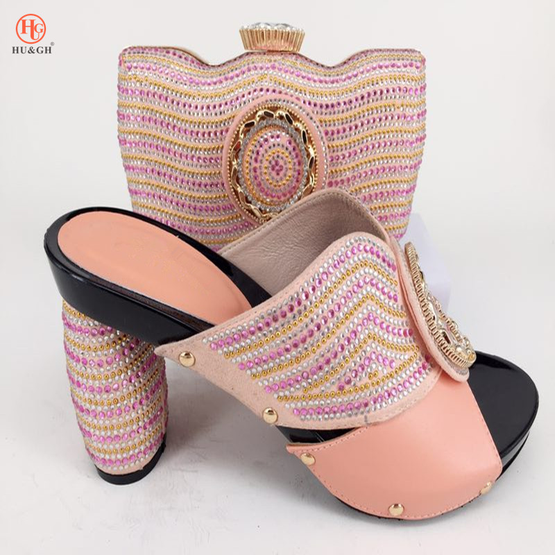 Pink Color Wedges Italian Design Shoes with Matching Bag African Shoe and Bag Set Italian African Shoes and Bag Set for Parties 2018 new arrival pink color italian shoe with matching bags shoes and bag set african sets 2018 shoe and bag italian design sets
